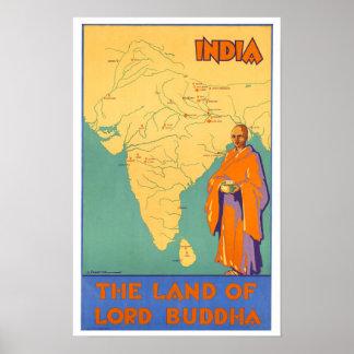 Tierra de la India del vintage de señor Buda Posters