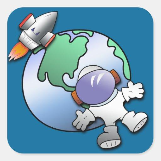 Tierra del astronauta y del planeta etiquetas de Zazzle.