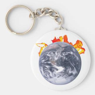 Tierra del calentamiento del planeta llavero