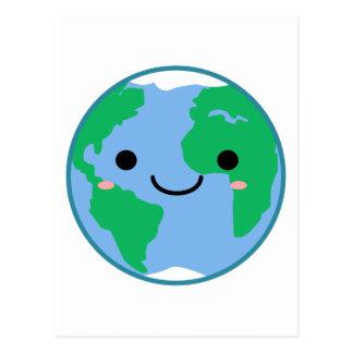 Tierra del planeta de Kawaii Postal