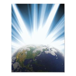 Tierra del planeta del espacio invitación 10,8 x 13,9 cm