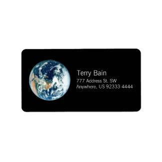 Tierra del planeta etiqueta de dirección