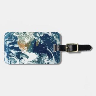 Tierra del planeta etiquetas maletas