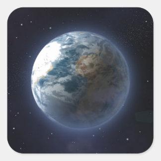 Tierra del planeta calcomanías cuadradases