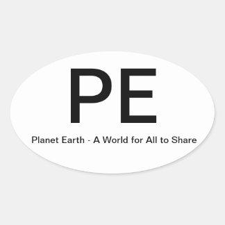 Tierra del planeta pegatina ovalada