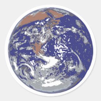 Tierra del planeta etiqueta redonda