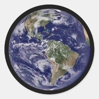 Tierra del planeta pegatina redonda