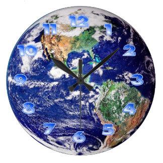 Tierra del planeta reloj redondo grande