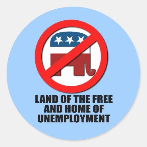 Tierra el del libre y casero del desempleo etiquetas redondas