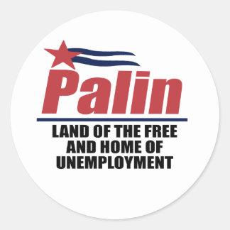 Tierra el del libre y casero del desempleo pegatina redonda