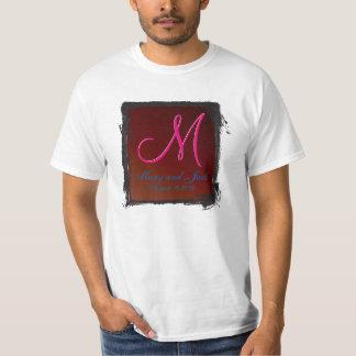 Tierra-tono del monograma 3d rojo sangre camiseta
