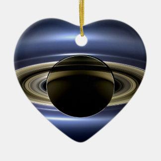 Tierra y Saturn Adorno De Cerámica En Forma De Corazón