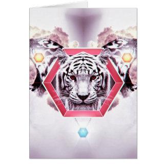 Tigre abstracto en hexágono geométrico tarjeta de felicitación