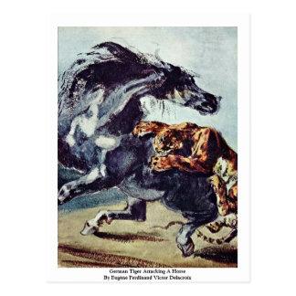 Tigre alemán que ataca un caballo tarjetas postales