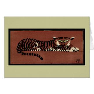 Tigre - anticuario, ejemplo de libro colorido tarjeta de felicitación