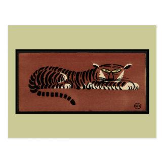 Tigre - anticuario ejemplo de libro colorido postal