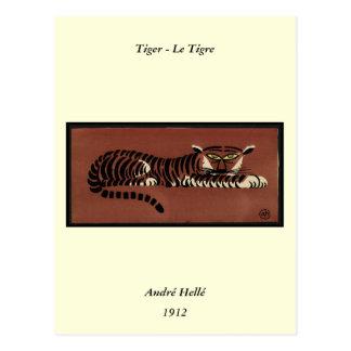 Tigre - anticuario ejemplo de libro colorido tarjeta postal