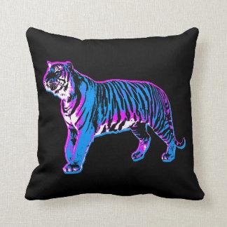 Tigre azul de neón del vintage del tigre 80s de Co Cojin