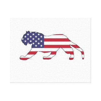 "Tigre ""bandera americana "" lienzo"