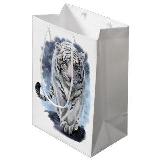 Tigre blanco bolsa de regalo mediana