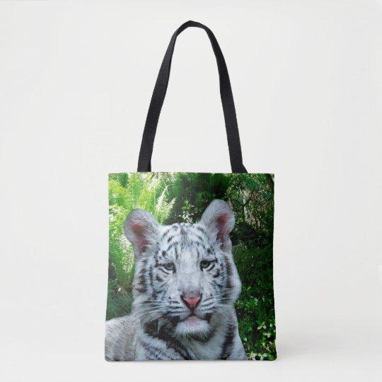 Tigre blanco bolsa de tela