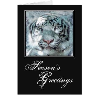 Tigre blanco como la nieve del navidad tarjetas