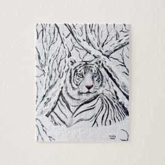 Tigre blanco que mezcla adentro puzzle