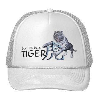 Tigre blanco y símbolo chino gorra