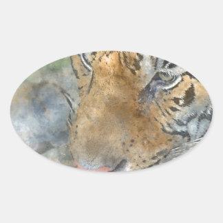 Tigre cercano para arriba en acuarela pegatina ovalada