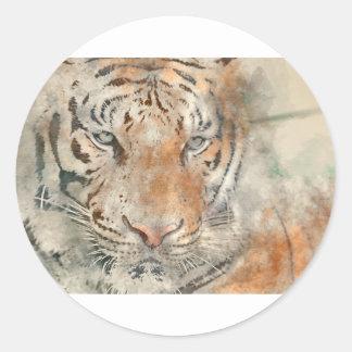 Tigre cercano para arriba en acuarela pegatina redonda