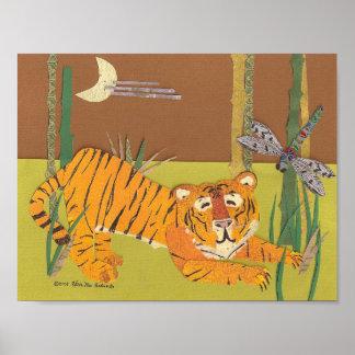 Tigre con la impresión del collage del arte de la