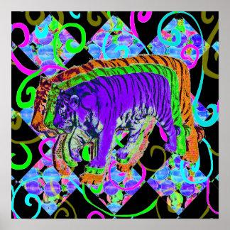 Tigre de neón en fondo vivo póster