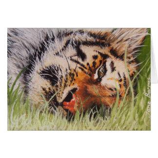 Tigre de reclinación tarjeta de felicitación