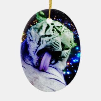 Tigre del arco iris adorno navideño ovalado de cerámica