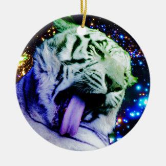 Tigre del arco iris adorno navideño redondo de cerámica