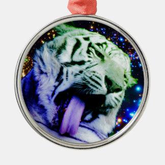 Tigre del arco iris adorno navideño redondo de metal