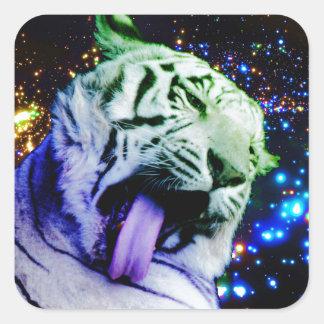 Tigre del arco iris pegatina cuadrada