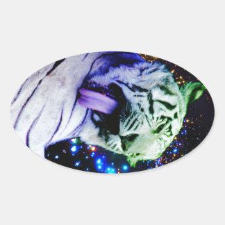 Tigre del arco iris pegatina ovalada