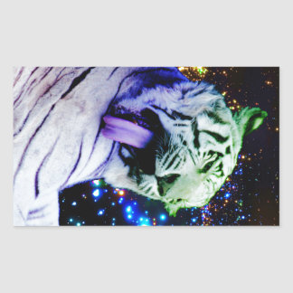 Tigre del arco iris pegatina rectangular