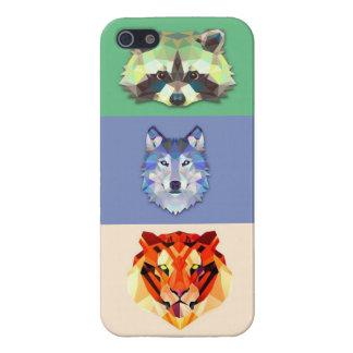 Tigre del lobo del mapache de los animales iPhone 5 funda
