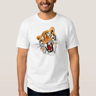 Tigre del rugido con los dientes agudos del camisas
