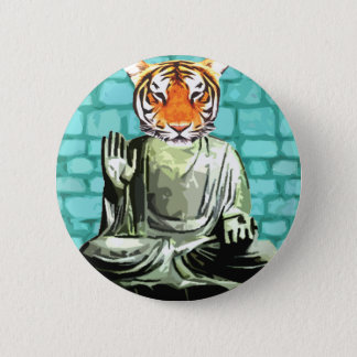 Tigre del zen chapa redonda de 5 cm