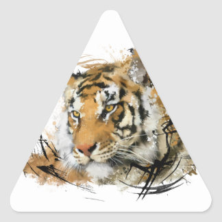 Tigre distante pegatina triangular