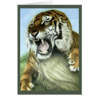 Tigre el gruñir tarjeta de felicitación
