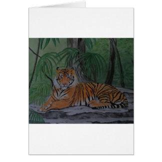 Tigre en descanso tarjeta de felicitación