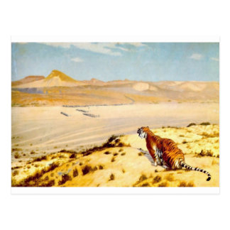 Tigre en el reloj por Jean-León Gerome Postal