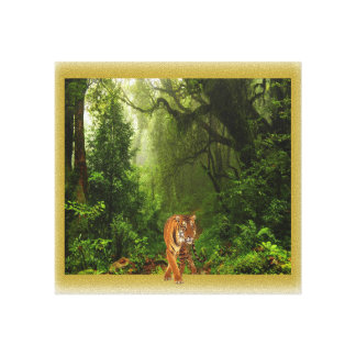 tigre en lona de la selva lienzo
