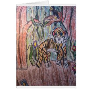 Tigre en selva tarjeta de felicitación