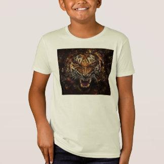 Tigre enojado que rompe Yelow de cristal Camiseta