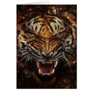 Tigre enojado que rompe Yelow de cristal Tarjeta De Felicitación